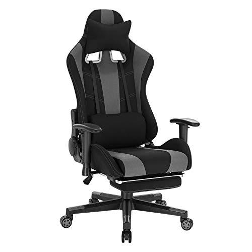 WOLTU BS98gr Gaming Stuhl Racing Stuhl Ergonomischer Stuhl Schreibtischstuhl Höhenverstellbarer Gamer Stuhl Drehstuhl mit Fußstütze und Wippfunktion Bürostuhl, Stoffbezug, Grau