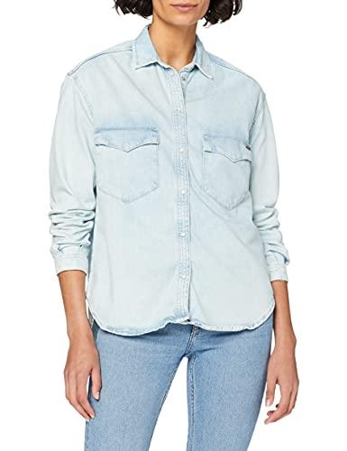 Pepe Jeans Mae Blusa, (8oz Marine Blue Denim 000), Large para Mujer
