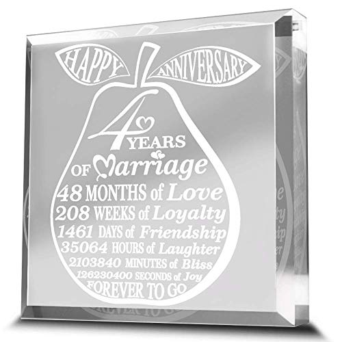 4 Years of Marriage-Traditional Fruit gift for 4th Anniversary-Engraved Acrylic Paperweight (3...