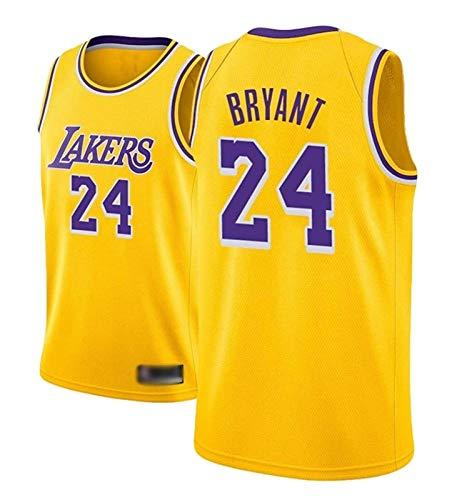 AMJUNM Camiseta para hombre y mujer – Lakers 24# Kobe Bryant Jerseys transpirable bordado baloncesto Swingman Jersey (color: amarillo A, talla: S)