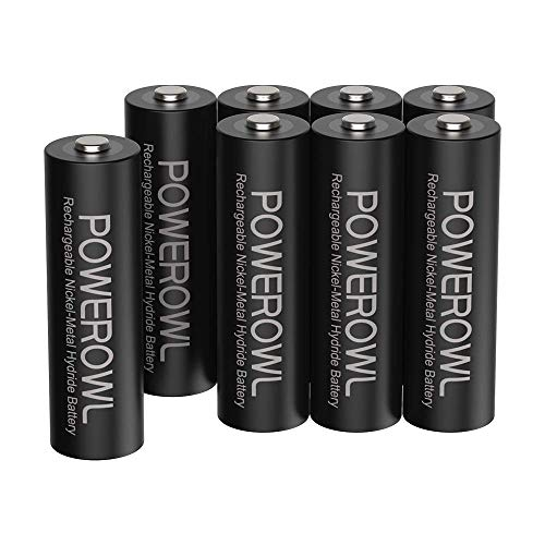 Pilas AA Recargable POWEROWL Alta Capacidad 2800mAh 1.2V Pilas Recargables AA NI-MH Diámetro 14.4mm Baja Autodescarga (Precarga 8 Piezas, Recargable Aproximadamente 1200 Veces)