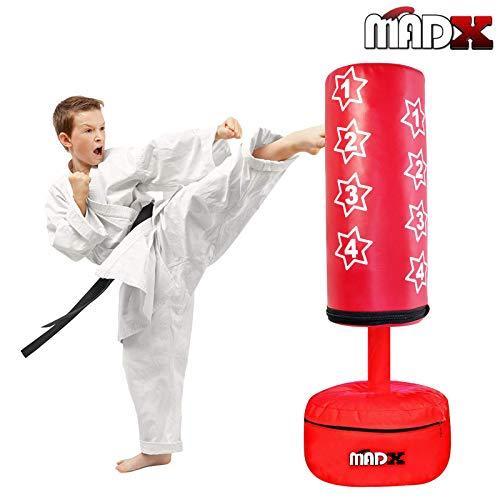 MADX Sac de frappe sur pied pour enfant avec gants de boxe, Rouge.