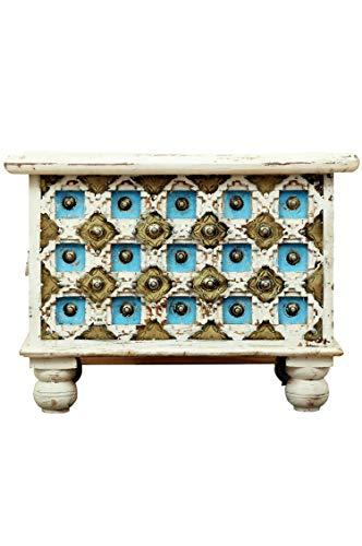 Orientalische Truhe Kiste aus Holz Anik Weiss 60cm | Vintage Sitzbank mit Aufbewahrung für den Flur | Aufbewahrungsbox mit Deckel im Bad | Betttruhe als Kissenbox oder Deko im Schlafzimmer - 2