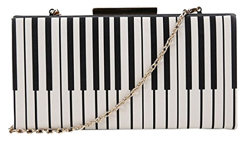 kukubird Lily Piano Pattern Clutch Bag with Dustbag - Black & White