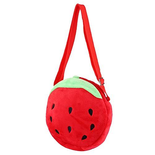 Children Backpack,Cartoon Little Strawberry Plush Bag Round Travel Lunch Bags Toddler Plush Bag for Children