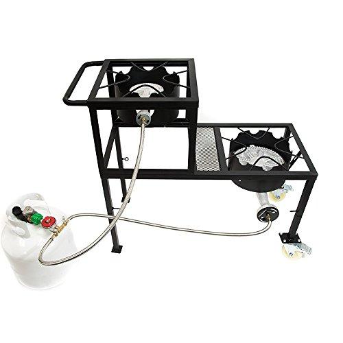 GAS ONE Propane Burner Two Step/Tier 300,000-BTU High-Pressure Propane Double burner on Wheels &...