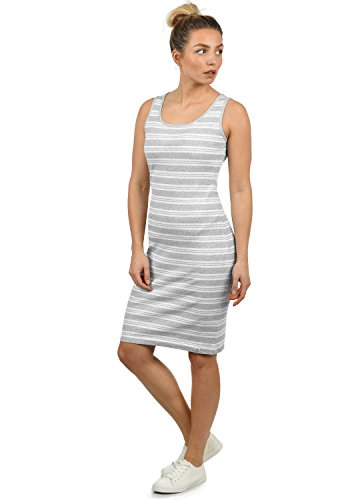 DESIRES Rahile Damen Kleid Sommerkleid Dress in Streifen-Optik mit Rundhals-Ausschnitt aus 100% Baumwolle, Größe:M, Farbe:Light Grey Mel (8242)