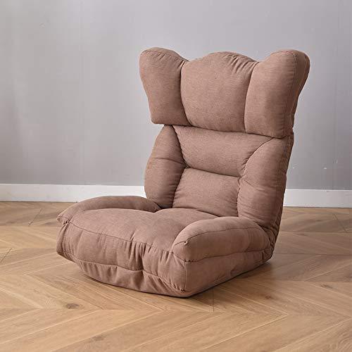 Sillón de suelo ajustable con 6 posiciones, acolchado y plegable, con esponja de alta resistencia, algodón transpirable y tela de lino, sofá reclinable con funda extraíble, color marrón