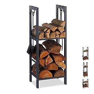 Relaxdays leñero interior con 2 estantes y 4 colgadores para accesorios chimenea, acero, antracita, 100 x 60 x 30 cm