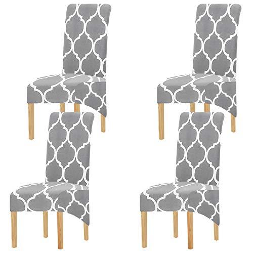KELUINA Tela de impresión Estiramiento XL Fundas para sillas de comedor, 2/4/6 piezas Funda elástica para silla grande para Decoración de fiesta de banquete de boda (Gris-01,4 Pack)