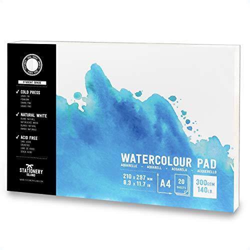 Stationery Island Aquarellpapier Block – A4 Beginner Qualität. Watercolor Skizzenbuch Mit 20 Seiten Kalt Gepresstem Premium 300gsm Doppelt Strukturiertem Papier. Für Malen, Zeichnungen Und Skizzen