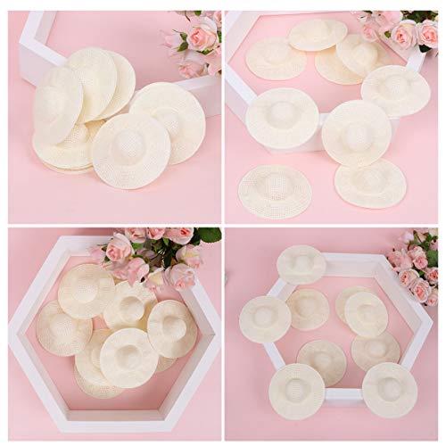 Toyvian 12 Stücke Mini Puppe Hut Papier Stoff Gewebt Stil Natürlichen Hut Miniatur Hut DIY Material für Puppe Spielzeug 8cm