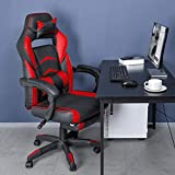 OKVAC Racing Style PC Video Gaming Chair, Home Office High-Back Ergonomic Backrest Executive Seat, Height & Backrest Adjustment, E-Sports Recliner Swivel with Headrest Lumbar Pillow Footrest (Red)
