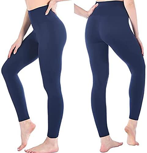 Leggings Donna Fitness, Pantaloni Sportivi Yoga Vita Alta Controllo della Pancia Opaco Elastici Morbido (48 XL IT Donna 46 EU, Marina Militare, x_l)