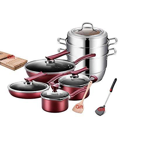 FGH QPLKKMOI Ollas y sartenes antiadherentes Juego, Juegos Antiadherente anodizado Duro Utensilios de Cocina con Tapa y asa, Kithcen Cocina Juegos de 5 PC