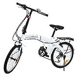 Ridgeyard - Vélo 6 vitesses pliable 50,8cm avec support arrière pour témoin LED de batterie, Homme, blanc