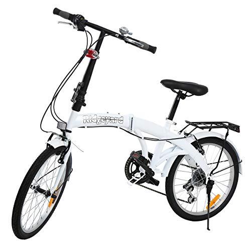 Bicicleta plegable Ridgeyard de 6 velocidades, de 20 pulgadas con soporte trasero LED, Hombre, blanco