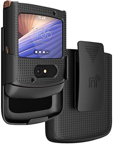 Case with Clip for Motorola RAZR 5G Flip Phone, Nakedcellphone [Black] Hard Shell Slim Cover with [Rotating/Ratchet] Belt Hip Holster Holder Combo for Motorola Moto RAZR 5G Flip Phone (2020) XT2071