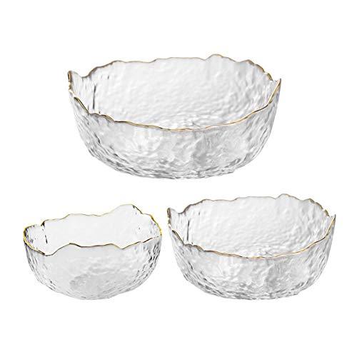OBR KING Glass Salad Bowls Set of 3 Phnom Penh Mixing Bowls Irregular Shape Serving Bowls for Kitchen Prep Fruit Pasta Popcorn and Snack