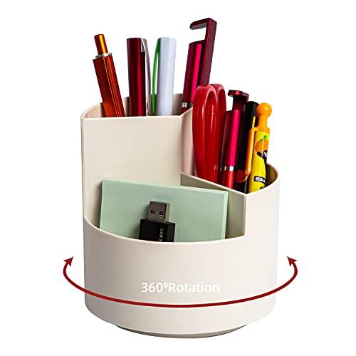 Desk Pencil Pen Holder, 3 Slots 360-Degree Spinning Pencil Pen Desk Organizers, Desktop Storage Pen...