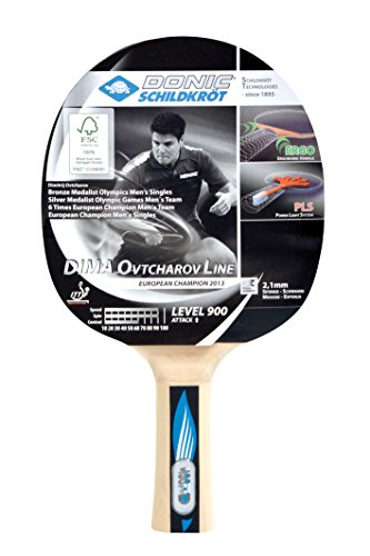 Donic-Schildkröt Tischtennisschläger Ovtcharov 900 FSC, PLS & Ergo-Griff, 2,1 mm Schwamm, FSC Holz, Spinmax - ITTF Belag, 754409