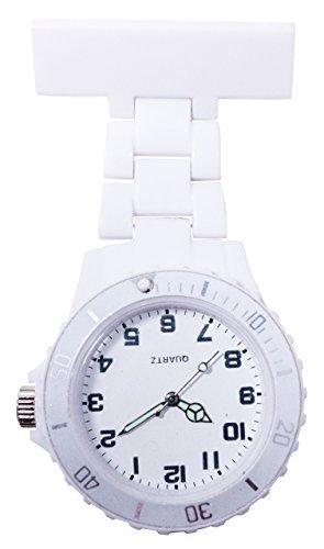 Ellemka - Schwestern   Herren Damen Unisex   FOB Ansteckuhr   Analoge Uhranzeige   Digitales Quartz Uhrwerk   NS-2102 Plastik ABS Pin Band   Monocolor WD - Hell-Grau