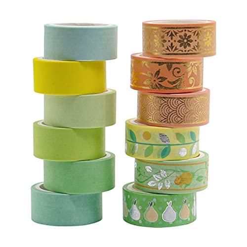 12 Rouleaux Washi Tape Ruban Adhésif Papier Décoratif Masking Tape pour Scrapbooking Artisanat de Bricolage (ruban washi Green Gold) BOMEI PACK