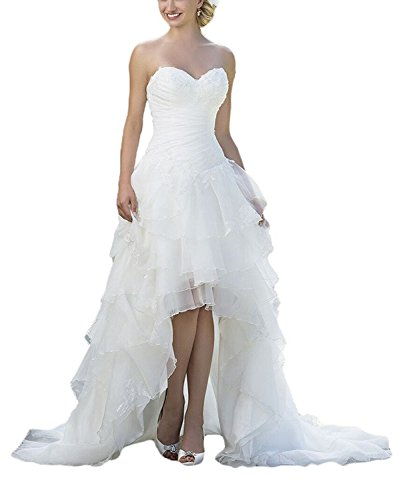 Modeldress High Low Country Weatern Wedding Dress for Bride Off Shoulder Bridal Gown, White3, 10