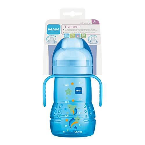 MAM Trainer+ (220 ml), Trinklernflasche für den Übergang zum Becher, Trinklernbecher mit tropffreiem Sauger, Trinkschnabel & Haltegriff, 4+ Monate, blau