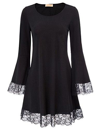 Women's Casual Plain Fit Flowy Simple Swing T-Shirt Loose Tunic Dress Black Size Small
