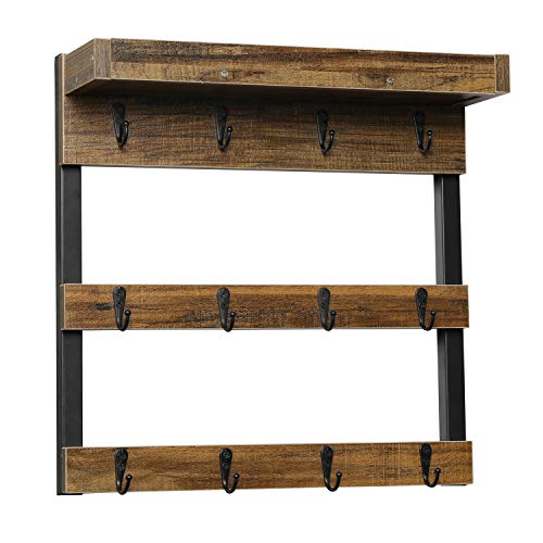 OROPY Coffee Mug Rack Wall Mounted, Rustic Wood Cups Rack with 12 Hooks and Storage Shelf, for Home Kitchen Display and Collection (Rustic Brown)