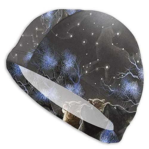 ND Badekappe Hut weibliche Katze im Mondlicht Badekappe Erwachsener, Badehut Männer und Frauen Damen