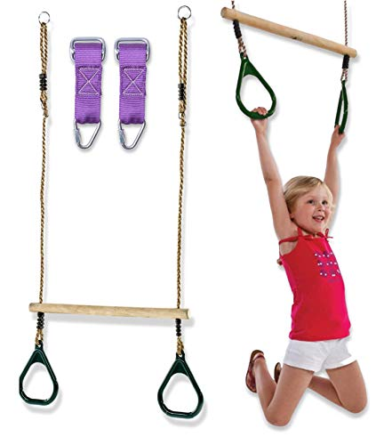 Weatherproof Kids Trapeze Swing Bar Rings - Wooden Monkey Bars for Backyard Swing Set Accessories 2 Buckle Hanging Straps for Ninja Warrior Obstacle Course | Plastic Gym Rings Playground Equipment