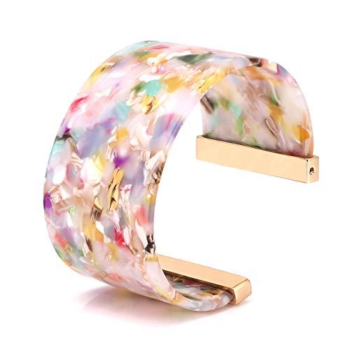 Wide Cuff Bangle Bracelet for Women Acrylic Resin Tortoise Bangle Bracelet Statement Adjustable Bracelet (Floral)