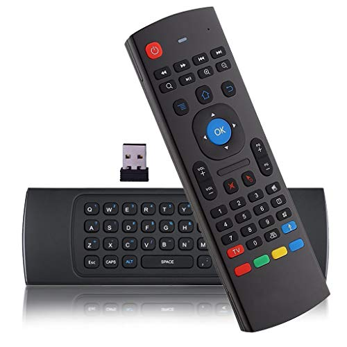 Mando a Distancia con Mini Teclado y Ratón Aéreo al Reverso, Ratón Aéreo Air Mouse MX3 Control Remoto USB2.0 Inalámbrico IR Compatible con Android TV, Raspberry Pi 4, Kodi, PC Ordenador
