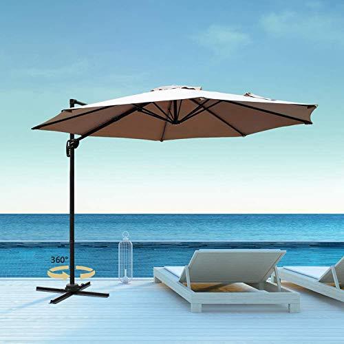 Aoxun 10FT Patio Umbrella 360-Degree Cantilever Offset Hanging Shade Easy Tilt for Garden Deck Pool Patio, Beige