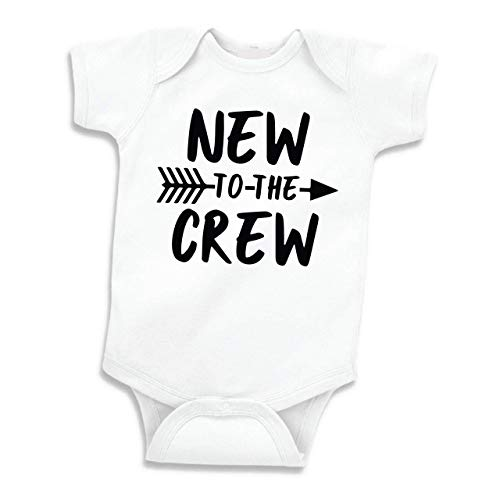 New to the Crew Pregnancy Announcement Newborn Clothes (White 0-3 Months)