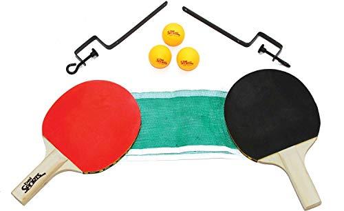 Kit Tênis de Mesa 2 Raquetas + Suporte + Rede + 3 Bolinhas #40 Bel Fix Vermelho/Preto/Verde