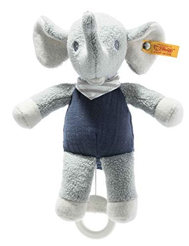 Steiff 242410 GOTS Eliot - Caja de música de elefante - 22 cm - Animal de peluche para bebés - Azul claro/gris (242410), azul 124 g