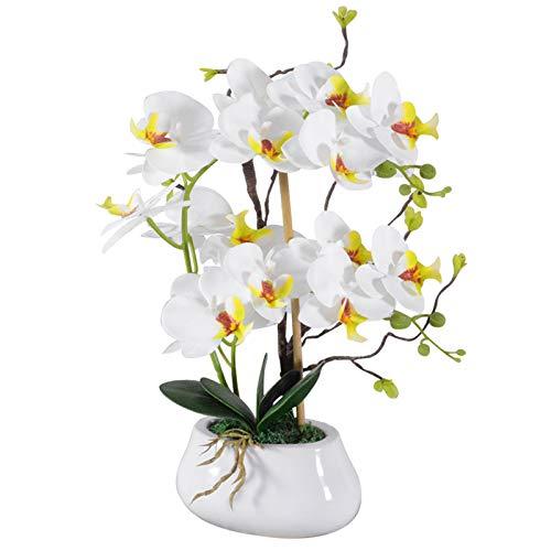 VIVILINEN Flores Artificiales Plásticos Flor de Phalaenopsis Realistas Orquídea Mariposa con Maceta Imitación Cerámica Decoración Cálida para Hogar Dormitorio y Oficina (Azul)