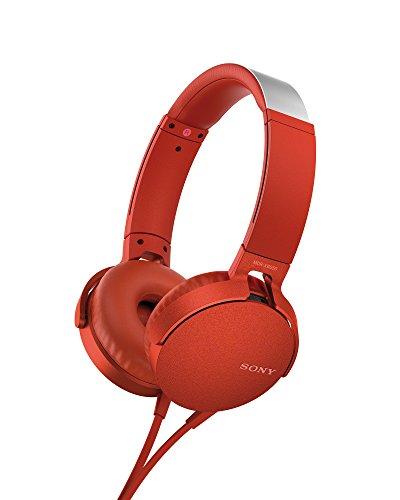 Sony MDR-XB550AP - Auriculares de Diadema Extra Bass (Micrófono Integrado Compatible con Smartphones, Diadema Metálica Adaptable) Color Rojo, Talla Única