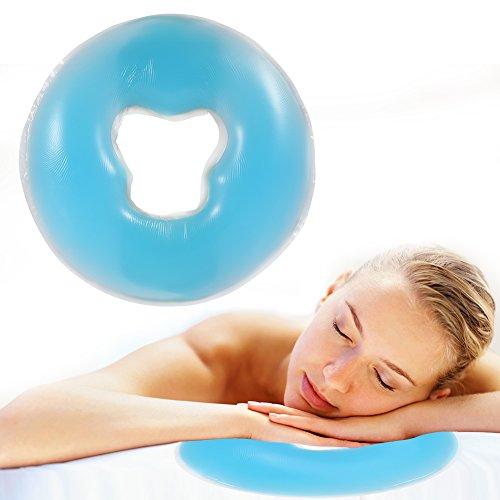 Silikon Kopfkissen Weiche Massage Gesicht Entspannen Kissen Kopfstütze, SPA Beauty Salon Hautpflege Weiches Überlagerungs Gesicht entspannen Wiegen Kissen Auflage(Himmelblau)