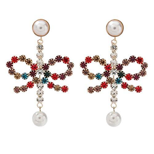 Vvff Pendientes De Lazo De Perlas De Imitación De Diamantes De Imitación De Metal Accesorios De Joyería Para Mujeres Pendientes De Encanto