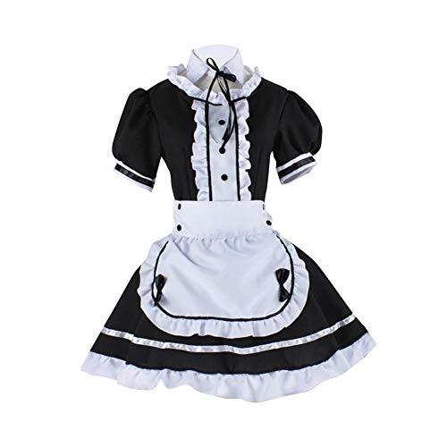 Anime Cosplay Disfraz de Mucama Halloween, Lolita Negro Sexy Disfraz Criada Francesa con Delantal Blanco y Sombreros (Negro, Talla M)