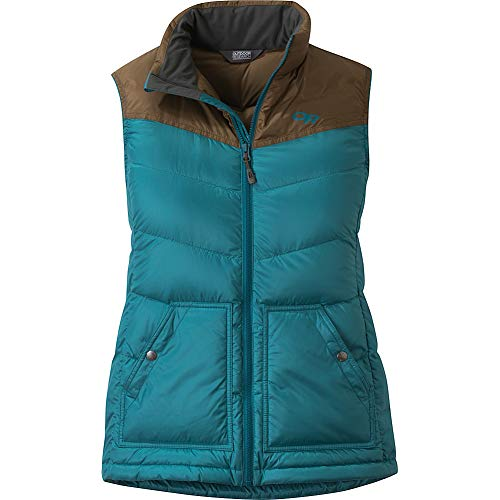 Outdoor Research Transcendent Down Vest Washed Peacock/Carob LG
