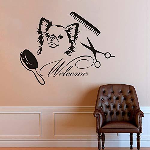 YuanMinglu Stickers muraux pour Animaux de Compagnie Salon de toilettage pour Animaux de Compagnie Bienvenue Mur de Chien en Vinyle Signe 42cm x 32cm