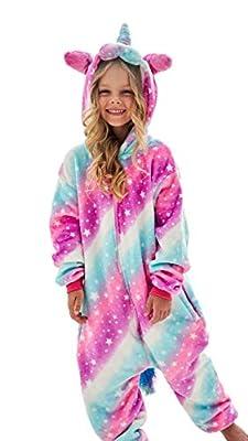 Girls Unicorn Pajamas Onesie, Animal Costume for Kids (Pink, 7-8 Years)
