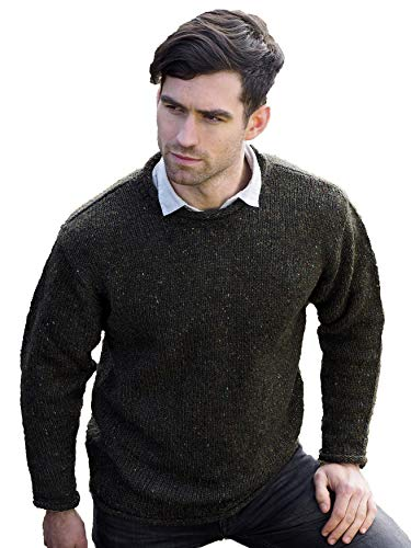 Aran Crafts Men's Irish Cable Knitted Wool Curl Neck Sweater (K4594-MED-GRE) Forest Green