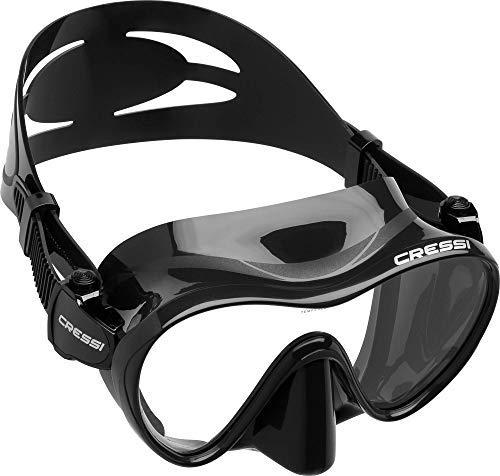 Cressi F1 Mask Máscara Monocristal Tecnología Frameless, Unisex, Negro, L + Premium Anti Fog - Antivaho Spray para Máscara de Buceo/Gafas de Natación, 60 ml