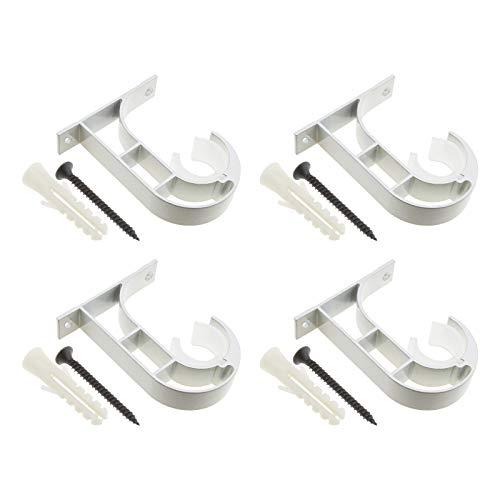 4 soportes para barra de cortina, se adapta a 2,5 cm con tornillos de montaje, tapones de expansión, barra de aleación de aluminio, montaje en pared o techo.